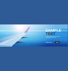 airplane window view into open space sky with wing vector image