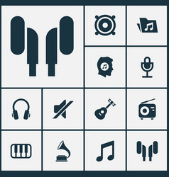 Audio icons set collection of tuner silence vector