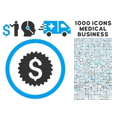 Bank Seal Icon with 1000 Medical Business vector image