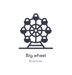 Big wheel outline icon isolated line from vector