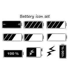 Black and white battery icons vector image