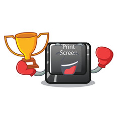 Boxing winner print screen button on cartoon vector