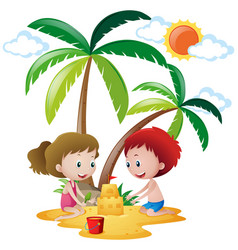 Boy and girl building sandcastle vector