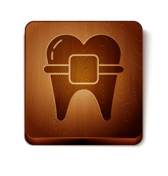 Brown teeth with braces icon isolated on white vector