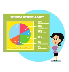 Businesswoman presenting graphs and charts vector
