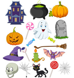Cartoon halloween symbols collection set vector
