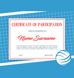 Certificate participation in volleyball tournament vector