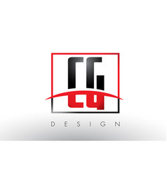 Cg c g logo letters with red and black colors and vector