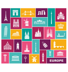 collection of europe detailed silhouettes set vector image