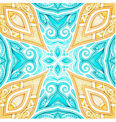 Colored seamless pattern with floral ethnic motifs vector