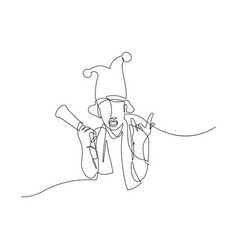 continuous line drawing men cheering vector image