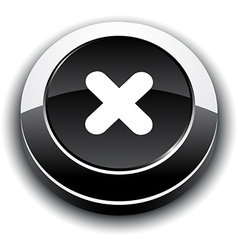 Cross 3d round button vector