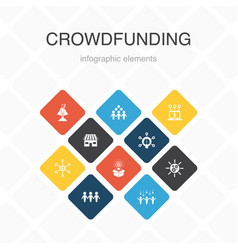 Crowdfunding infographic 10 option color design vector