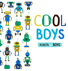 cute cool boys robots background vector image