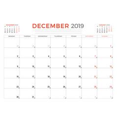 December 2019 calendar planner stationery design vector