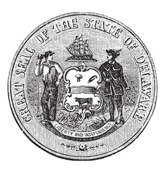Delaware Seal engraving vector image