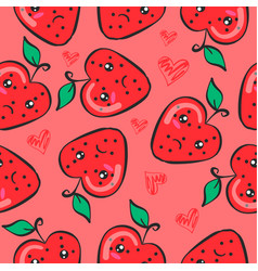 Doodle of fruit style funny collection vector
