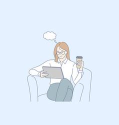 dream coffee break news social media concept vector image