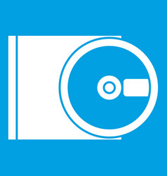 Dvd drive open icon white vector