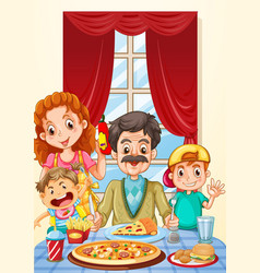 Family having pizza on dining table vector