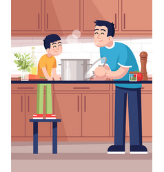 Father and son cooking hot meal together flat vector