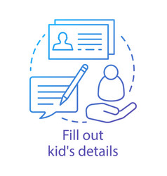 Fill out kids details concept icon camp interest vector