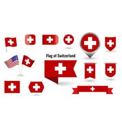 Flag switzerland big set icons vector