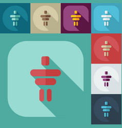 Flat modern design with shadow icons inukshuk vector