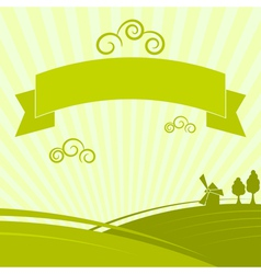 Green background with the rural landscape vector image