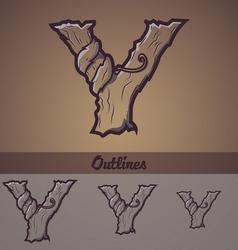 Halloween decorative alphabet - Y letter vector