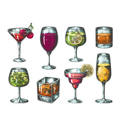 Hand drawn cocktails colored glasses with vector