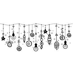 Hanging christmas ornaments of ball on border vector