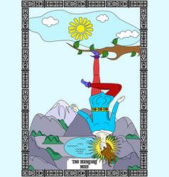 Hanging man card vector