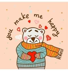 happy teddy card vector image