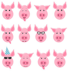 heads of cool funny pig emoticon characters funny vector image
