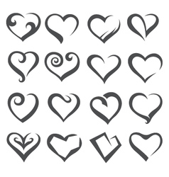 icons of hearts vector image vector image