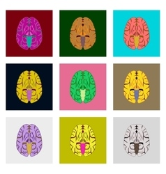 Icons set in flat style human brain vector