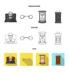 Isolated object of law and lawyer sign set of law vector