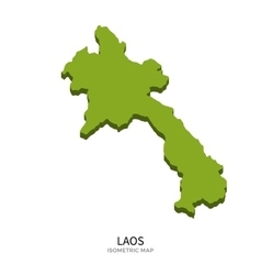 Isometric map of laos detailed vector