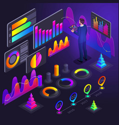 isometry business men businessmen holographic vector image