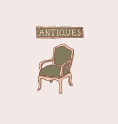 Light academia concept antique armchair vector