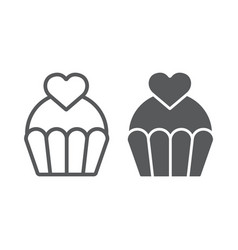 love cake line and glyph icon sweet and muffin vector image