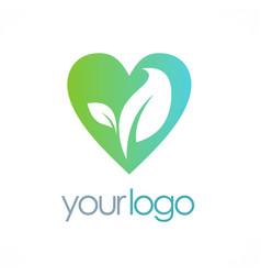 Love organic leaf logo vector