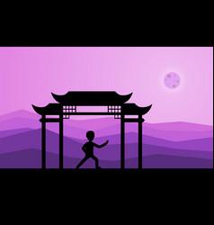 man performing qigong or taijiquan exercises in vector image