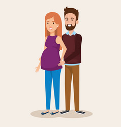 man with woman pregnacy avatar character vector image