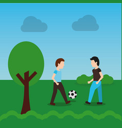 men playing soccer in the park cartoon vector image