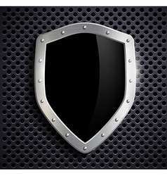 Metal shield with a black screen vector