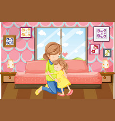 Mother and daughter hug in bedroom vector