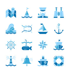 Nautical color silhouette flat style icon set vector