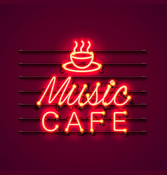 neon music cafe text icon signboard vector image